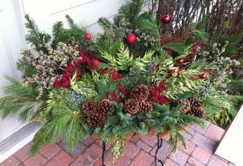 winter planter, holiday p[lanter, fresh cut greens, porch pot