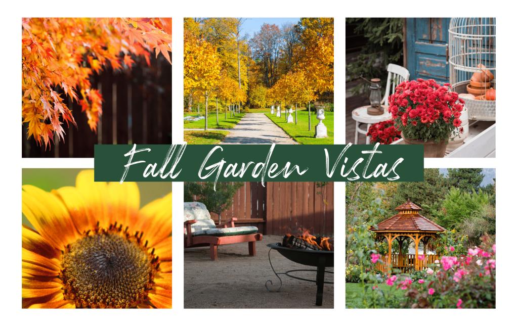 Collage image of fall garden vista ideas