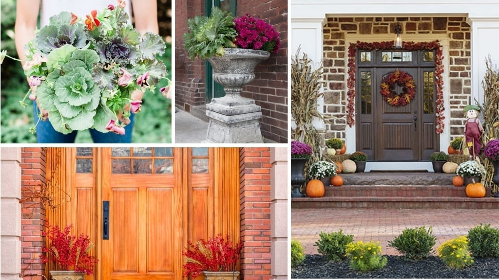 Collage image of fall planters for your front yard