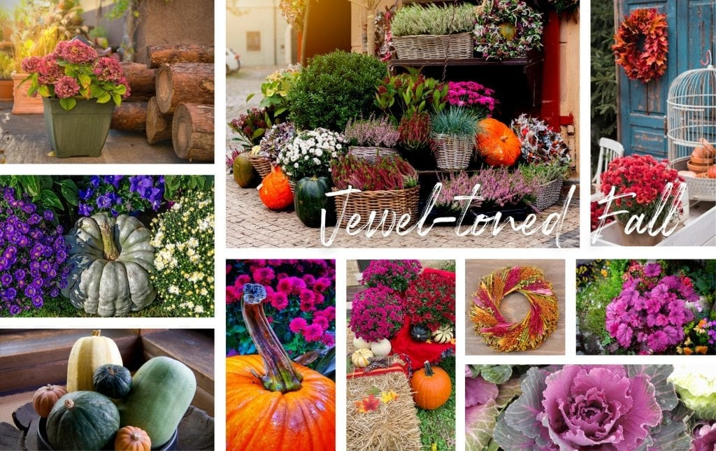 Jewel-toned fall decor collage image