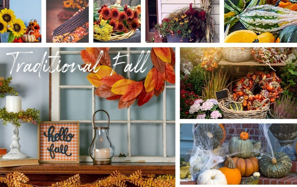 Traditional fall decor collage image