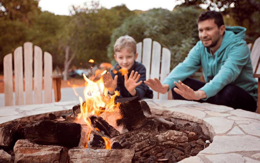 Fall Campfire Image Father and Son
